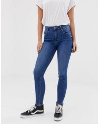 Bershka Skinny Jeans Met Extra Hoge Taille - Blauw