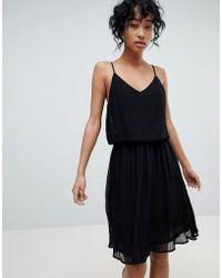 Pieces - Pleated Slip Dress - Lyst