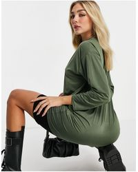 Flounce London Basic High Neck T-shirt Dress - Green