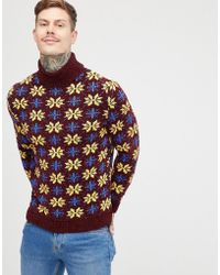 ASOS - Christmas Jumper In Chenille In Burgundy - Lyst
