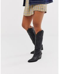 Bronx Black Leather Heeled Knee High Western Boots