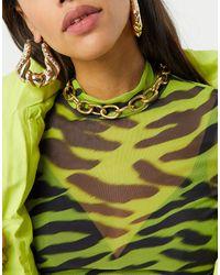 Glamorous Gold Overiszed Chain Link Choker - Metallic