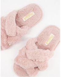 Truffle Collection Светло-розовые Слиперы С Переплетающимися Ремешками -розовый Цвет