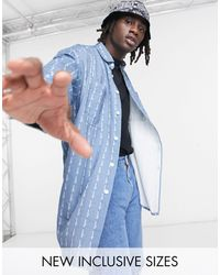 ASOS - Джинсовая Oversized-рубашка В Стиле 90-х В Полоску С Логотипом Asos Daysocial-темно-синий - Lyst