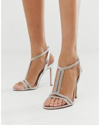 b201050d71b ALDO Arenani Silver Cross Front Heeled Sandals in Metallic - Lyst