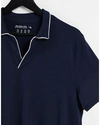 Abercrombie & Fitch Resort Tipped Open Collar Polo - Blue