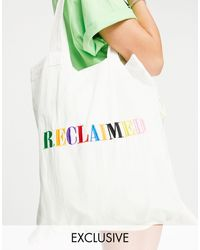 Reclaimed (vintage) Inspired Tote Bag With Rainbow Logo Embroidery - White