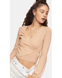 TOPSHOP Long-sleeved Ballet Wrap Top - White
