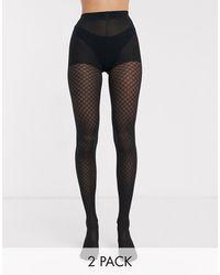 New Look Набор Из 2 Колготок Черного Цвета (в Клетку / С Ромбовидным Узором) -черный
