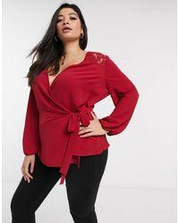 Simply Be Красная Блузка С Запахом И Кружевными Вставками -черный - Красный