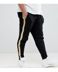 7abe9d0ee6 Sixth June - Skinny sweatpants In Black With Gold Side Stripe Exclusive To  Asos - Lyst