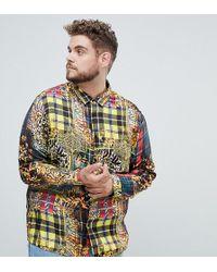ASOS - Plus Regular Fit Baroque & Check Mixed Print Shirt - Lyst