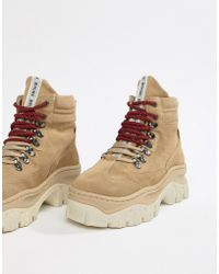 Bronx - Taupe Suede Chunky Hiker Boots - Lyst