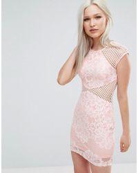 AX Paris - Fishnet Insert Bodycon Dress - Lyst