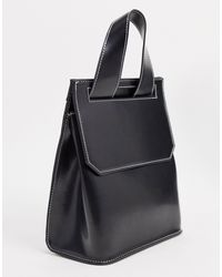 ASOS Glossed Black Backpack With Contrast Top Stitch