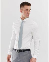 ASOS Белая Сатиновая Рубашка Скинни - Белый