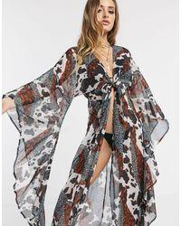ASOS Glam Maxi Beach Kimono With exaggerated Sleeves - Multicolour