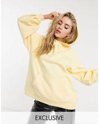 Reclaimed (vintage) Inspired Oversized Balloon Sleeve Pocket Hoodie - Yellow