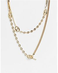 ASOS - Multirow Necklace With Herringbone And Tab Link Chain - Lyst