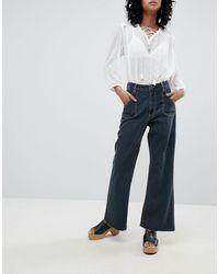 One Teaspoon Jeans cropped a vita alta con fondo ampio e cuciture a contrasto - Nero