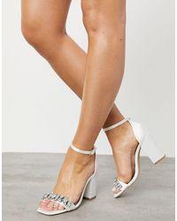London Rebel Embellished Bridal Block Heel Sandal - White