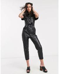 Bershka Faux Leather Boiler Suit - Black