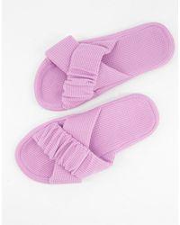 ASOS Zelda Ruched Cross Strap Slippers - Purple