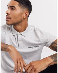 Abercrombie & Fitch Polo grigia con logo sul petto - Bianco