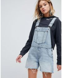 Cheap Monday - 90s Style Dungaree In Rigid Denim - Lyst