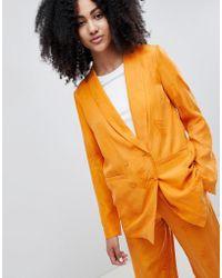 Gestuz - Orange Blazer With Feather Pattern - Lyst
