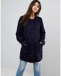 Abercrombie & Fitch - Collarless Wool Coat - Lyst