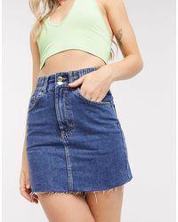 Pull&Bear Elasticated Waist Denim Skirt - Blue