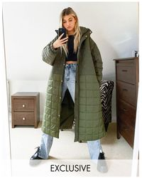 Collusion Mix Quilted Maxi Puffer Jacket - Green