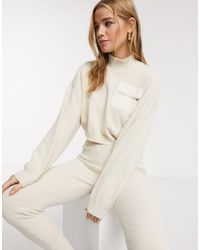 ASOS Lounge Co Ord Fluffy Sweater With Contrast Pocket - Natural