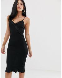 AX Paris Облегающее Платье Миди На Бретельках -черный