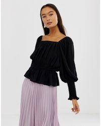 ASOS - Long Sleeve Square Neck Top With Shirred Sleeve Detail - Lyst