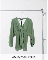 ASOS ASOS DESIGN Maternity - Top con maniche a kimono voluminose e scollo profondo a V kaki - Verde