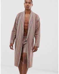 Paul Smith Lightweight Dressing Gown In Multi Stripe - Multicolour