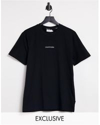 Calvin Klein Черная Футболка С Логотипом На Груди И Вертикальным Логотипом На Спине – Эксклюзивно Для Asos-черный Цвет