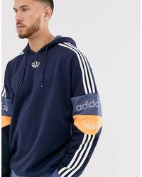 adidas Originals Hoodie avec logo trèfle et bande au centre - Bleu marine