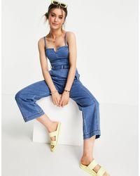 Hollister Combinaison en jean à bretelles - Indigo - Bleu
