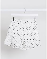 Miss Selfridge Spot Frill Hem Short - White