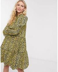 Notes Du Nord Olivia Leopard Print Mini Shirt Dress - Multicolor