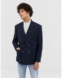 ASOS Boxy Oversized Double Breasted Blazer With Cross Hatch In Navy - Blue