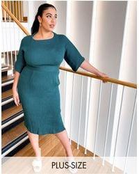 Closet London Plus Ribbed Pencil Dress - Green