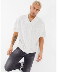 ASOS Oversized Jersey Baseball Shirt - Grey