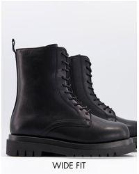 Truffle Collection - Черные Ботинки В Стиле Милитари Со Шнуровкой И На Массивной Подошве Для Широкой Стопы -черный Цвет - Lyst