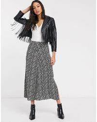 ONLY Falda midi con abertura hasta el muslo y estampado - Multicolor