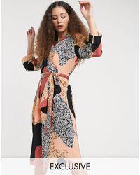 Monki Платье Миди С Принтом И Поясом -мульти - Многоцветный
