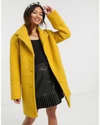 Oasis Boucle Teddy Coat - Yellow